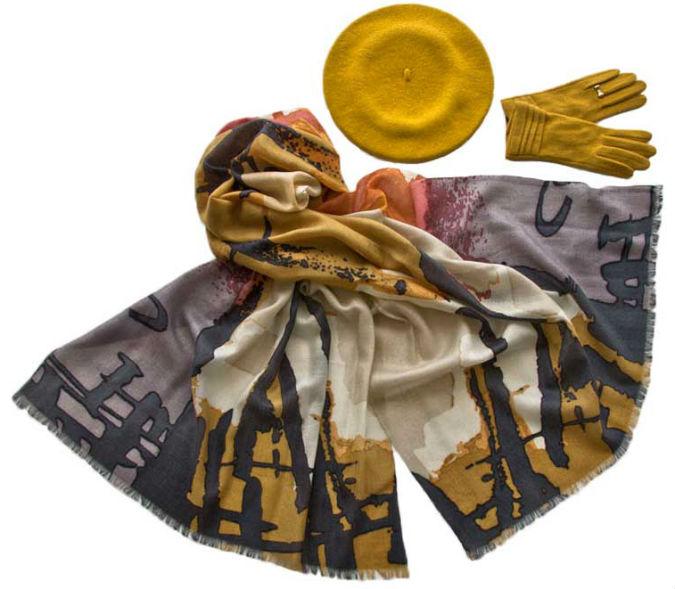 Комплект (берет, палантин, перчатки) Tonak/Tranini 45011 желтый фото