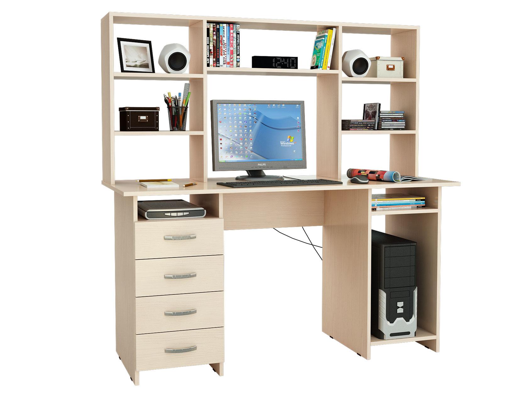 Компьютерный стол МФ Мастер Милан-6 145x60x145, дуб молочный