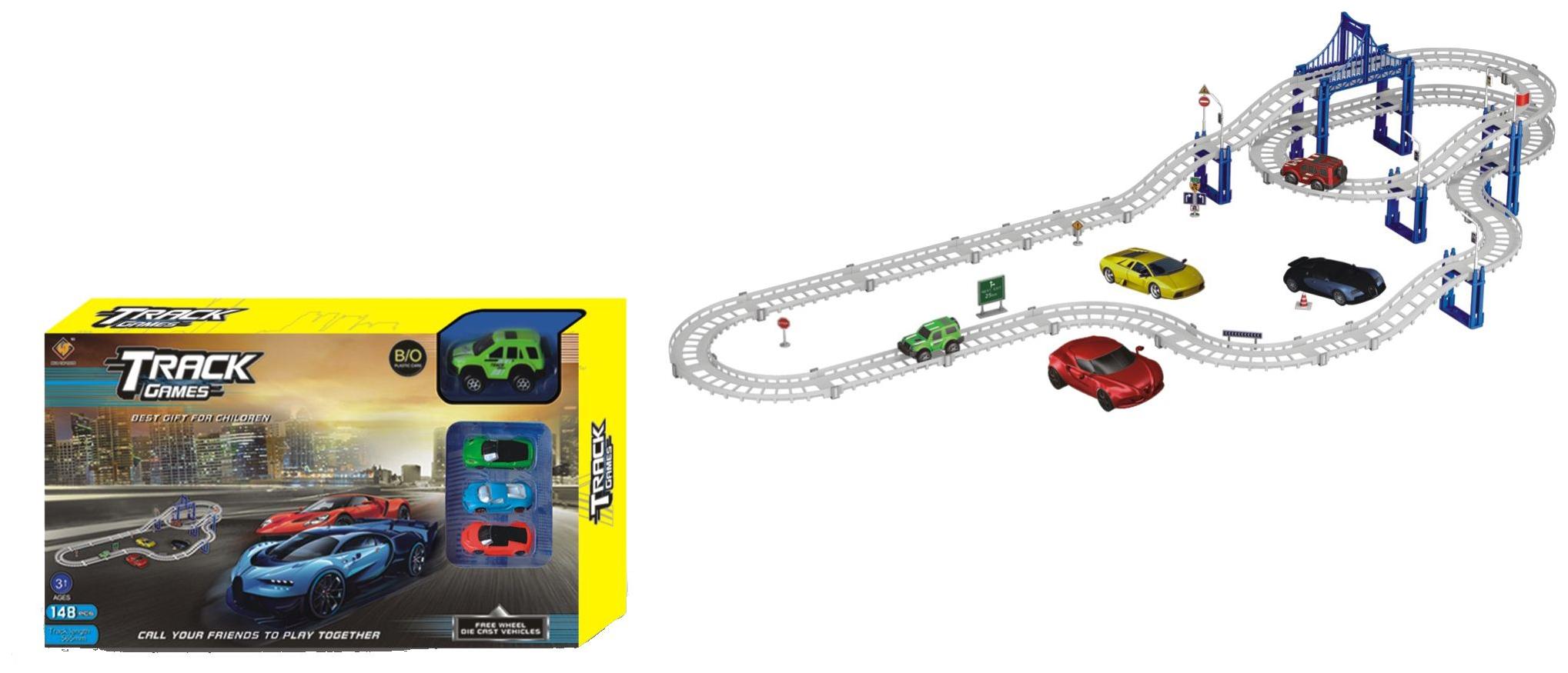 Купить Автотрек Наша Игрушка Автомагистраль, 4 машины, 148 деталей, аксессуары 663-P3, Наша игрушка, Детские автотреки