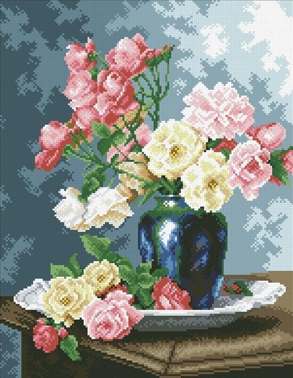 Алмазная вышивка Паутинка Ваза с садовыми розами 35x45 см фото