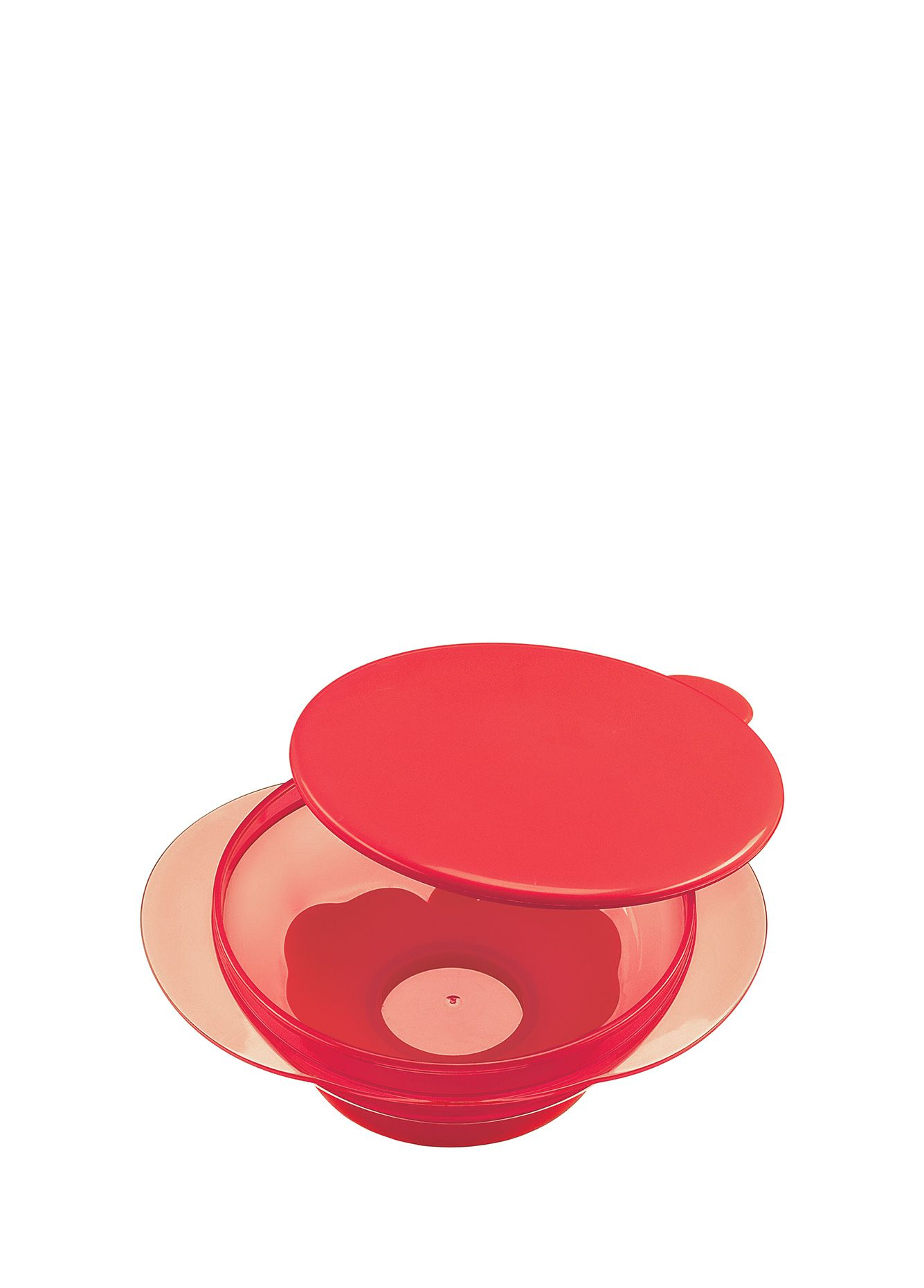 Купить Тарелка на присоске Happy Baby, с крышкой, цвет красный, Детские тарелки