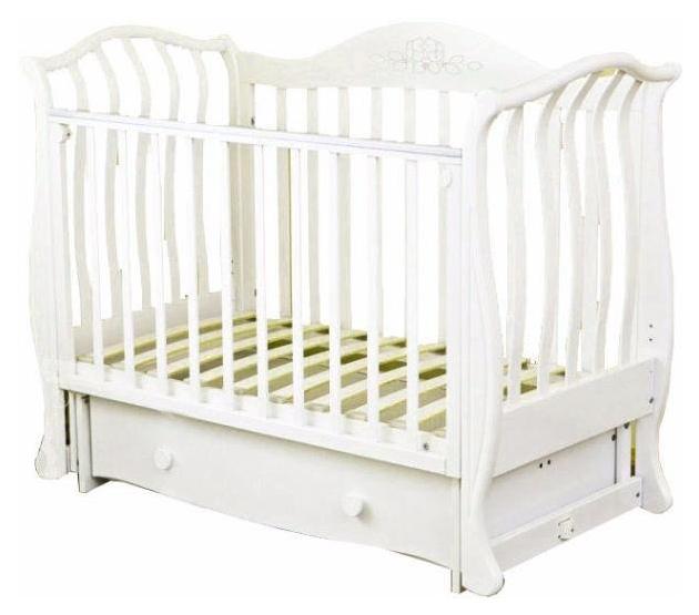 Кровать детская Красная Звезда Юлиана С 757 резьба № 8 накладка № 22 мишка на облаке Белый