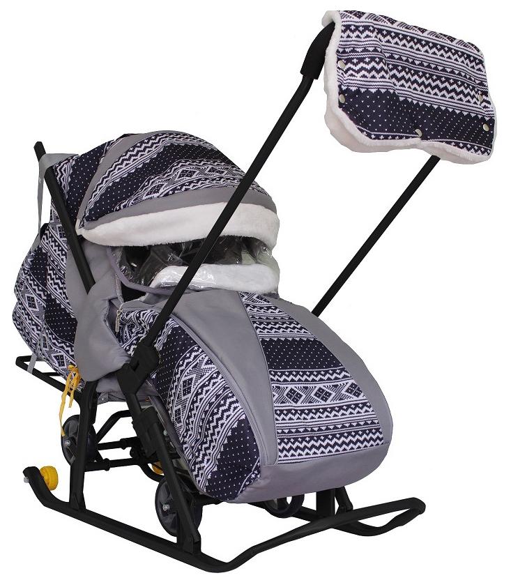 Санки-коляска Galaxy Snow Luxe Финляндия Черная