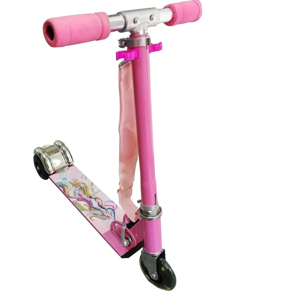 Самокат-кикборд Scooter трехколесный складной 100 мм розовый