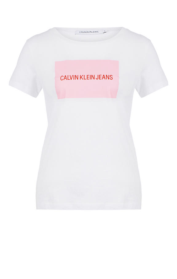 Футболка женская Calvin Klein Jeans J20J2.08600.9060 белая/розовая/красная S