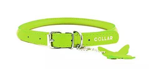 Ошейник COLLAR Glamour кожаный круглый для длинношерстных собак зеленый 8 мм 25 – 33 см
