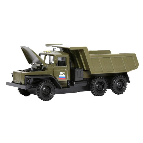 Купить Машина Технопарк инерционная, металлическая 1:43 УРАЛ бортовой военный со светом и звуком, Военный транспорт