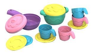 Набор посудки и пирожных Barbie 133, 3 пирожных, 3 чашки, 3 блюдца, кофейник с крышкой фото