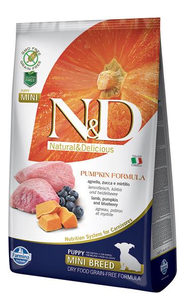 Сухой корм для щенков Farmina N&D Puppy Mini, для мелких пород, ягненок, черника,тыква,7кг