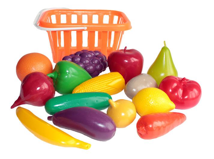 Купить Набор продуктов игрушечный Совтехстром Фрукты и овощи У758, Игрушечные продукты
