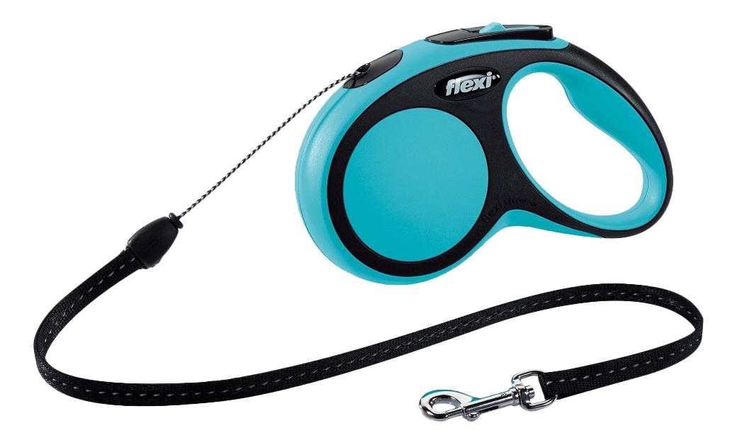 Поводок-рулетка для собак flexi New Comfort, трос, черный/синий, S, до 12 кг, 5 м