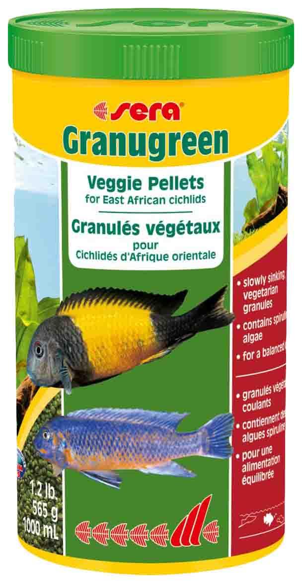 Корм для растительноядных цихлид Sera GRANUGREEN, гранулы,