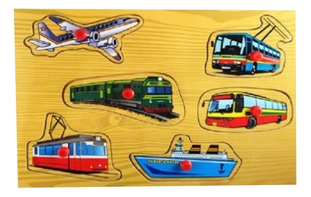 Купить Деревянный пазл мой транспорт 29 5х21 5 см п-1046, Деревянный пазл Рыжий кот Мой транспорт 6 элем. п-1046, Пазлы