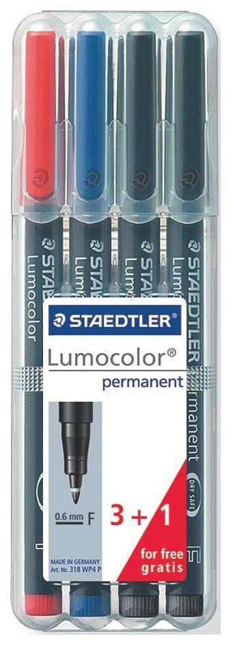 Набор перманентных маркеров Staedtler Lumocolor 318 F 4 шт.