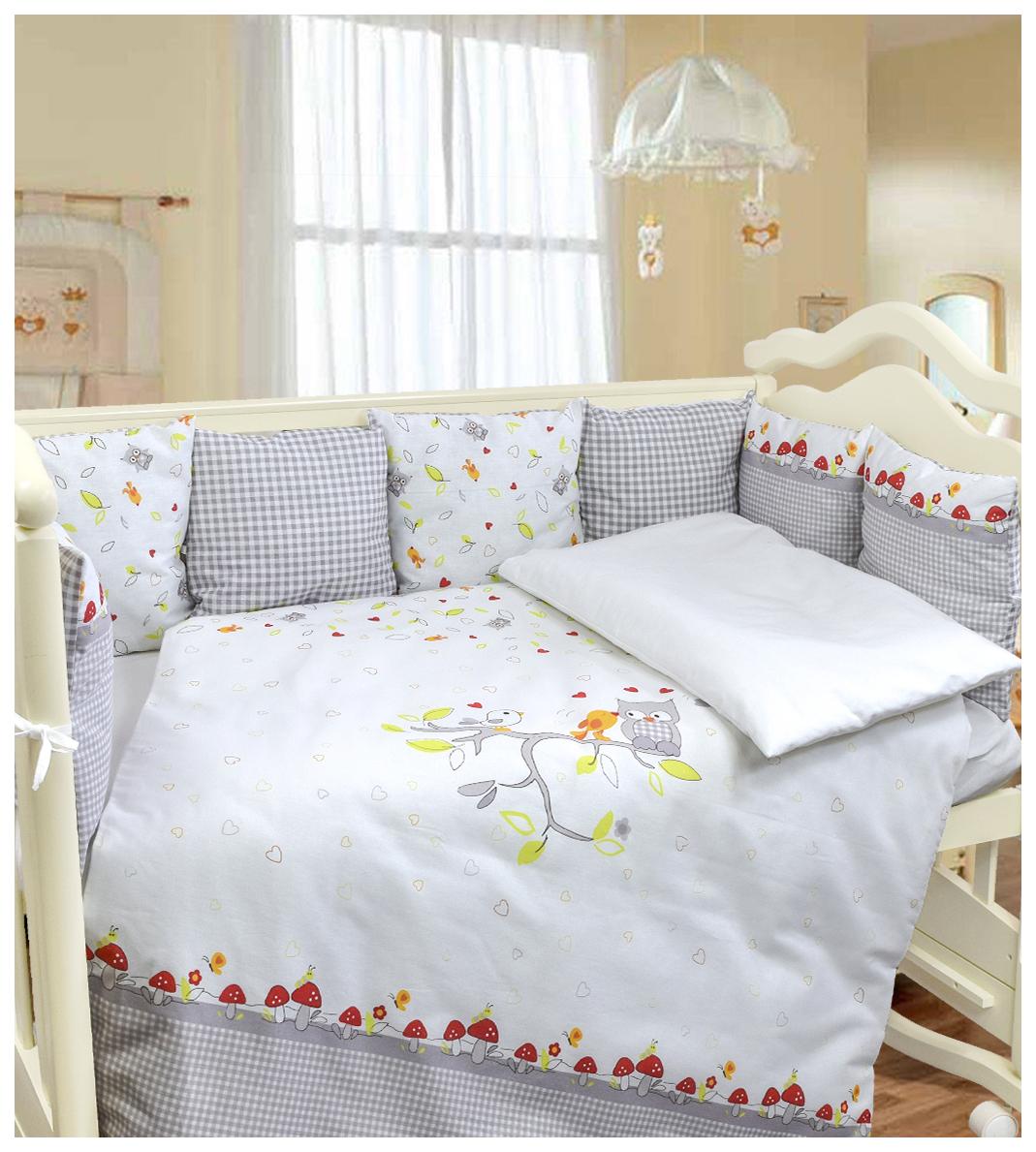 Комплект в кроватку Francis, 6 предметов, цвет: белый/сиреневый