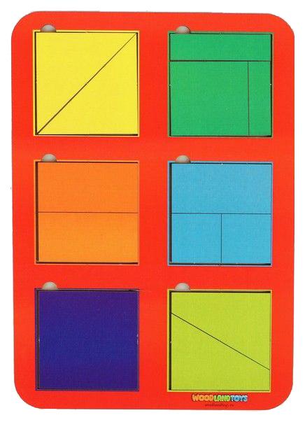 Купить Рамка-вкладыш WoodLand Квадраты, 6 шт. по методике Никитина, 22 элемента, Развивающие игрушки