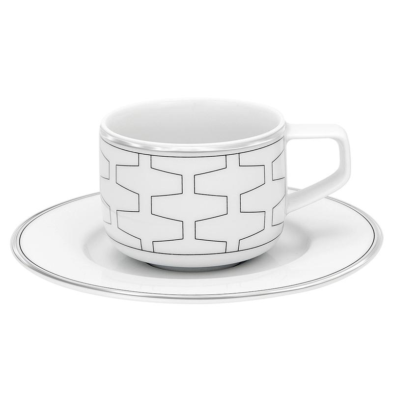 Чашка кофейная с блюдцем 95мл Vista Alegre TRASSO, цвет белый, серебряный