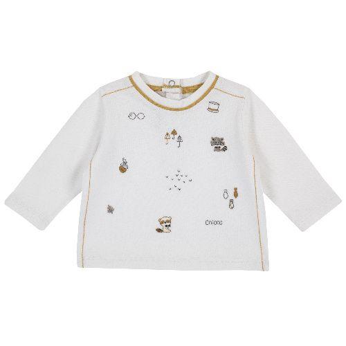 Купить 9006744, Лонгслив Chicco для мальчиков р.80 цв.белый, Кофточки, футболки для новорожденных