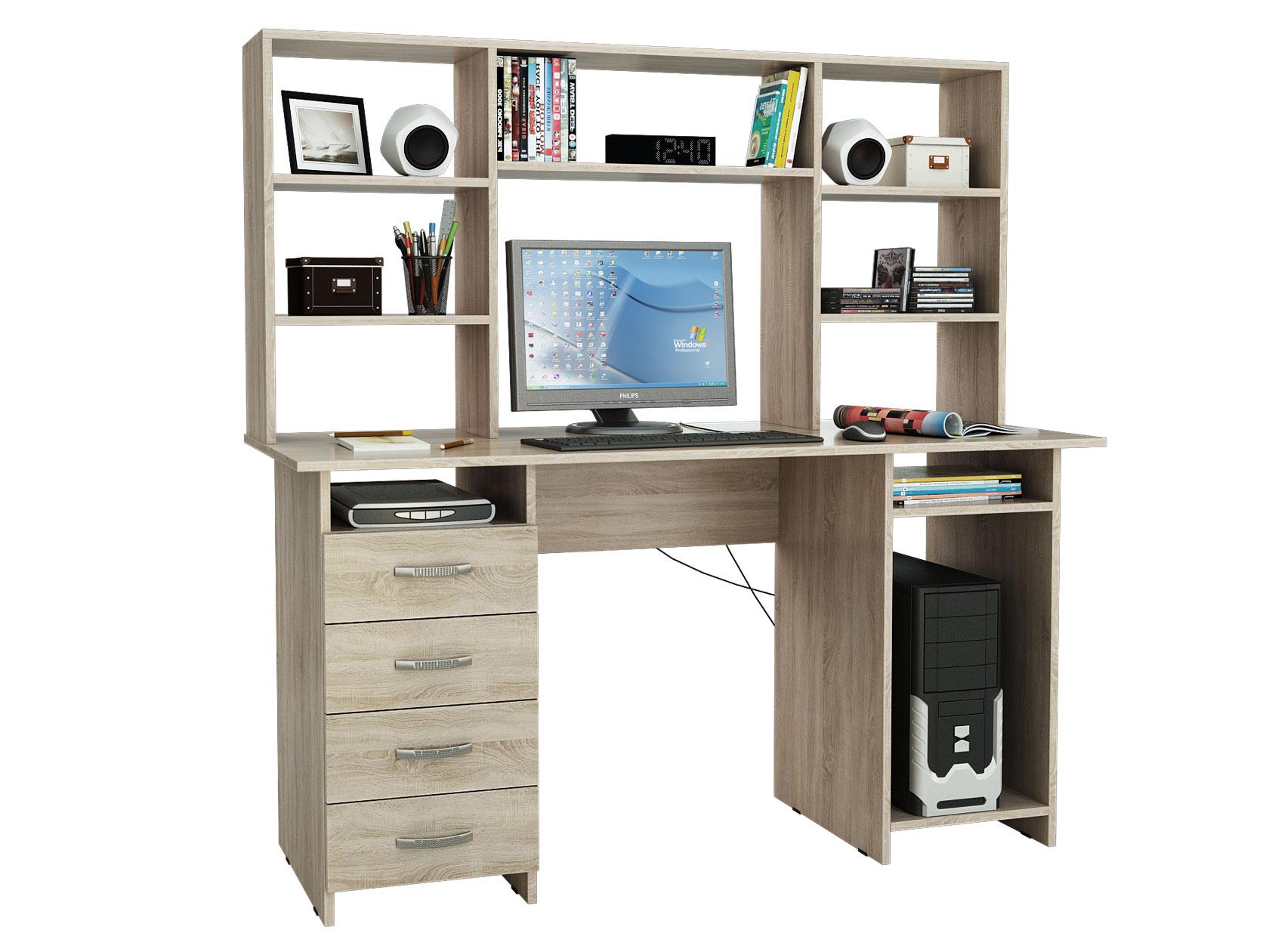 Компьютерный стол МФ Мастер Милан-6 145x60x145, дуб сонома