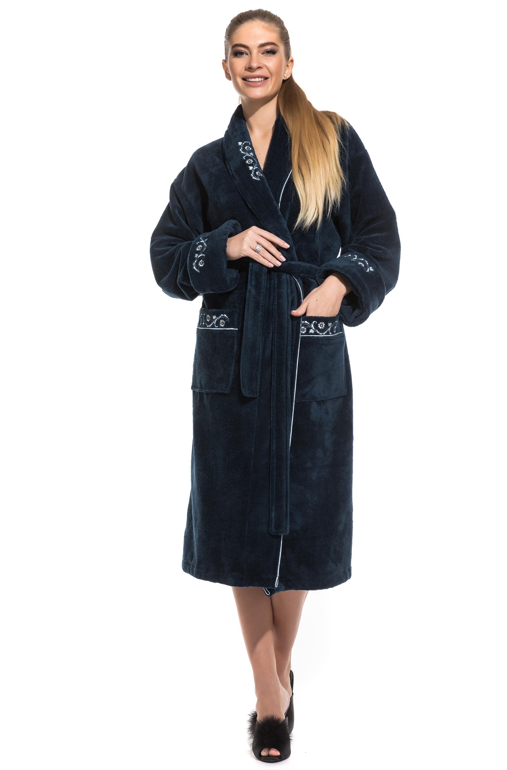 Женский махровый халат из бамбука Caramele Peche Monnaie 709, сапфировый, M