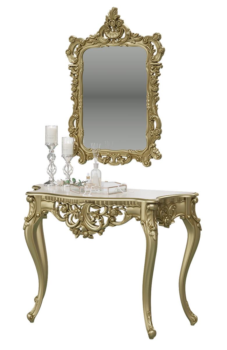 Туалетный столик с зеркалом Мэри-Мебель КН-01+ЗК-01, цвет бронза, 122х48х82 + 70х8х106 см. фото
