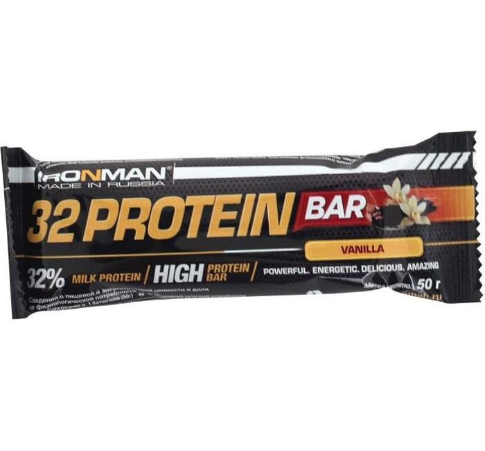 IRONMAN 32% Protein Bar (50 гр) (Ваниль/темная глазурь)