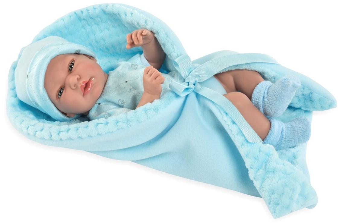 Купить Пупс ARIAS Elegance с голубым одеялком, с соской, 38 см, Т13729, Пупсы