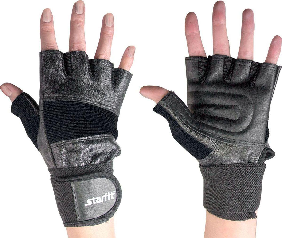 Перчатки для фитнеса мужские StarFit SU 125, черные,