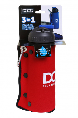 Комплект дорожный  для собак DOOG (бутылка 600мл + миска), красная