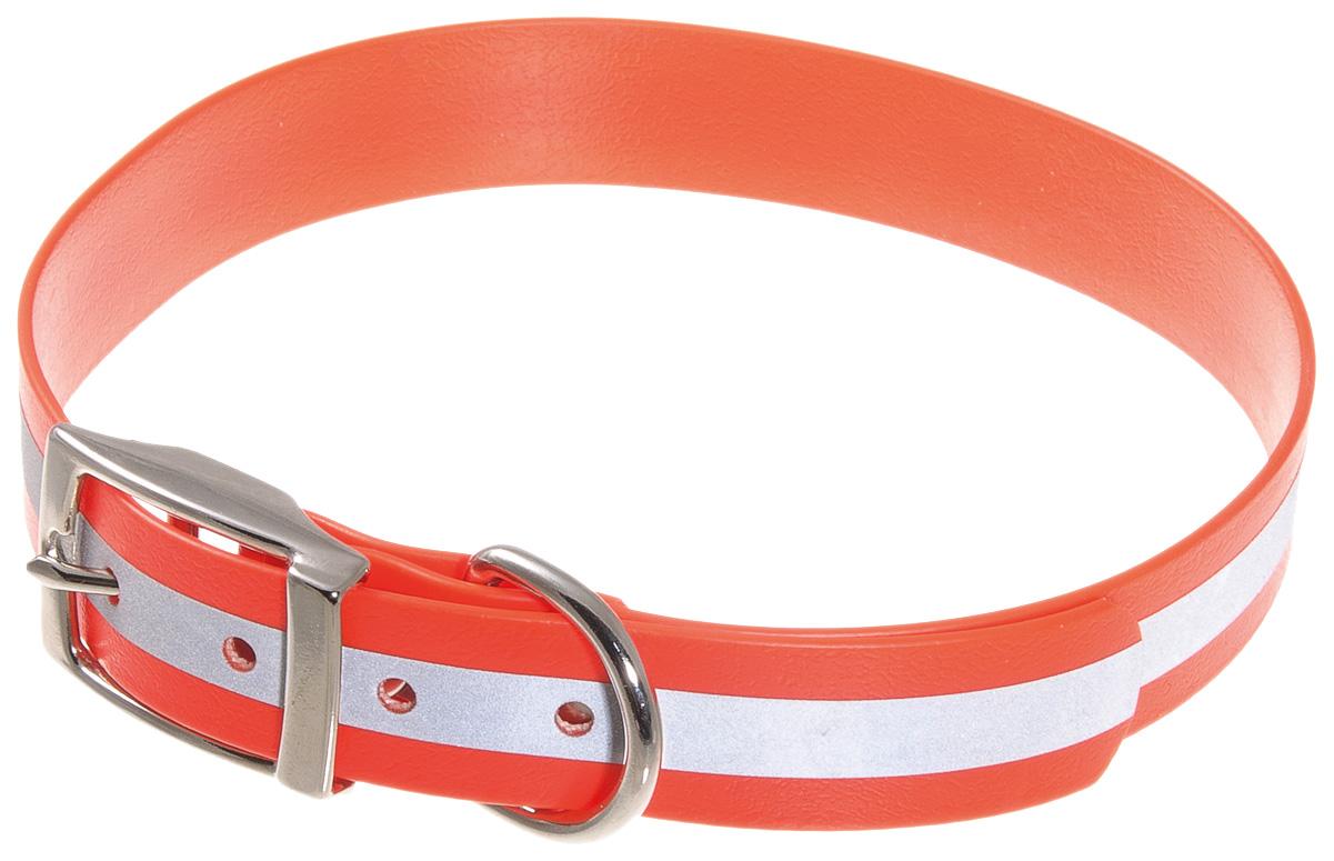 Ошейник для собак V.I.Pet, биотановый светоотражающий, оранжевый, 45-53 см x 25 мм