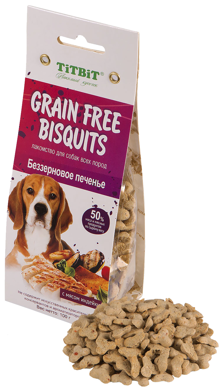 Лакомство для собак TiTBiT, печенье Grain Free беззерновое с мясом индейки, 100г