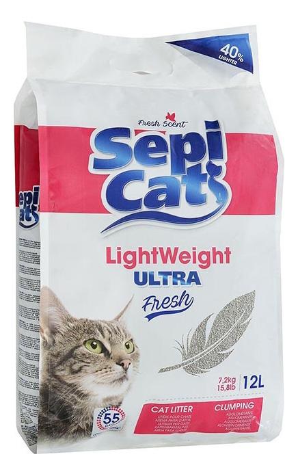 Комкующийся наполнитель для кошек SEPICAT бентонитовый, Детская присыпка, 8.1 кг, 12 л фото