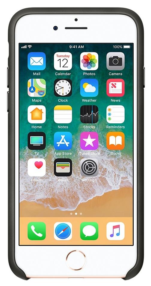Накладка Apple Leather Case Charcoal Gray для iPhone 8/7