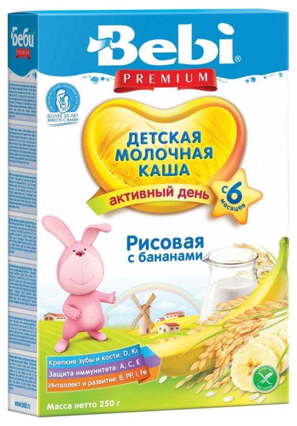 Купить Рисовая с бананом 250 г, Молочная каша Bebi Рисовая с бананом с 6 мес 250 г, Детские каши