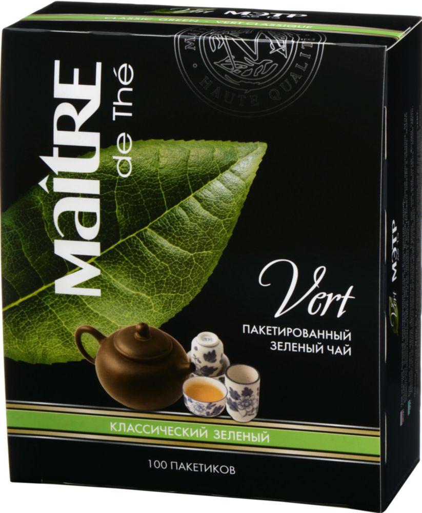 Чай зеленый Maitre de the классический 100 пакетиков фото