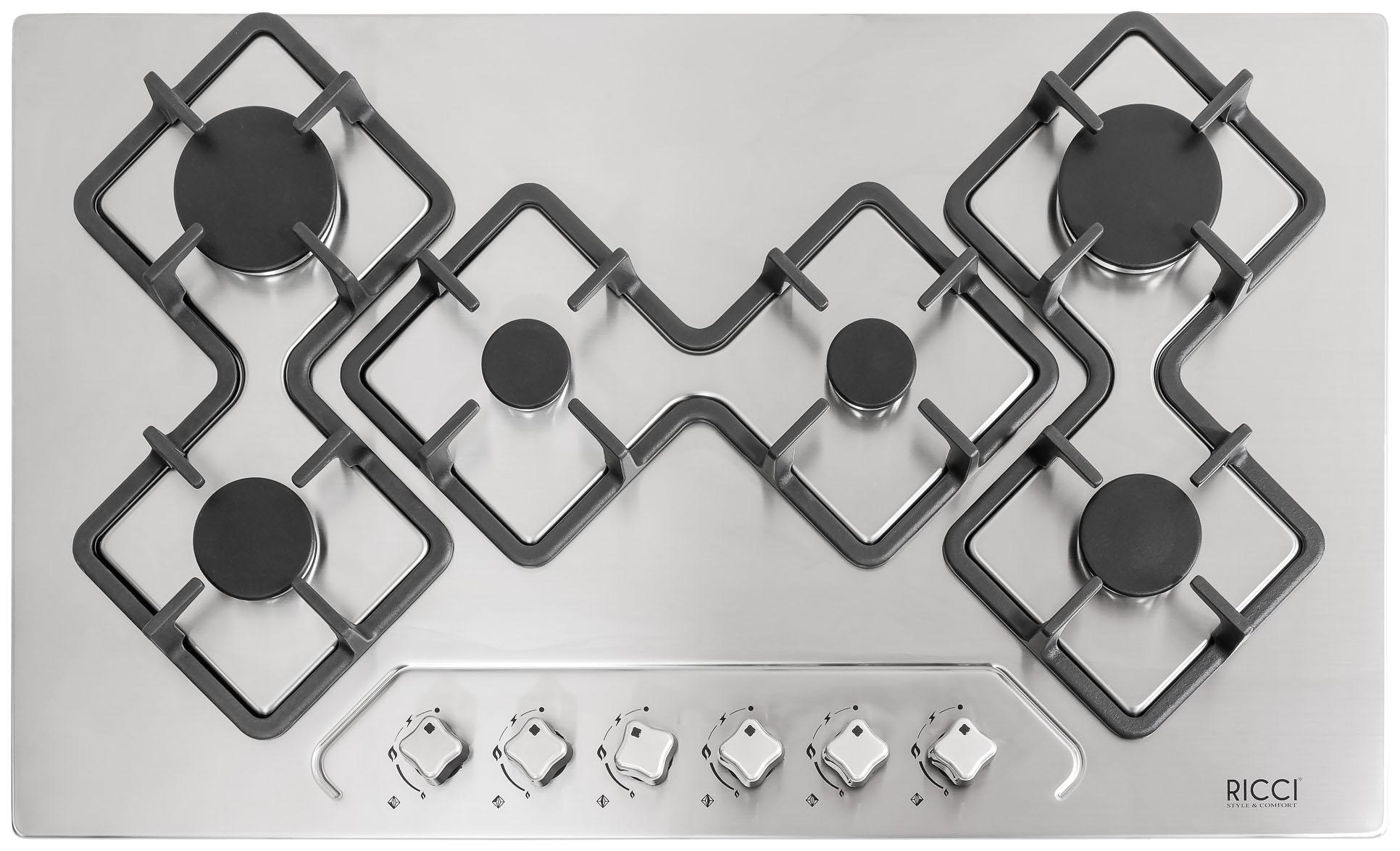 Встраиваемая газовая варочная панель RICCI RGN-KA 6018 IX