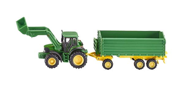 Купить Спецтехника Siku Трактор Джон Дир с ковшом и прицепом-кузовом, Строительная техника
