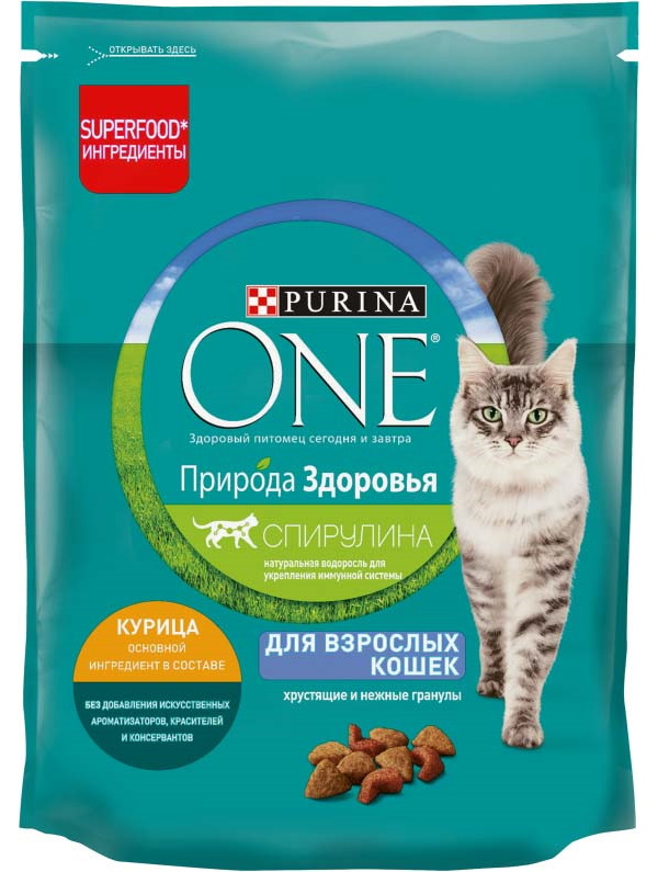 Сухой корм для кошек Purina One Природа здоровья, курица, 180 г