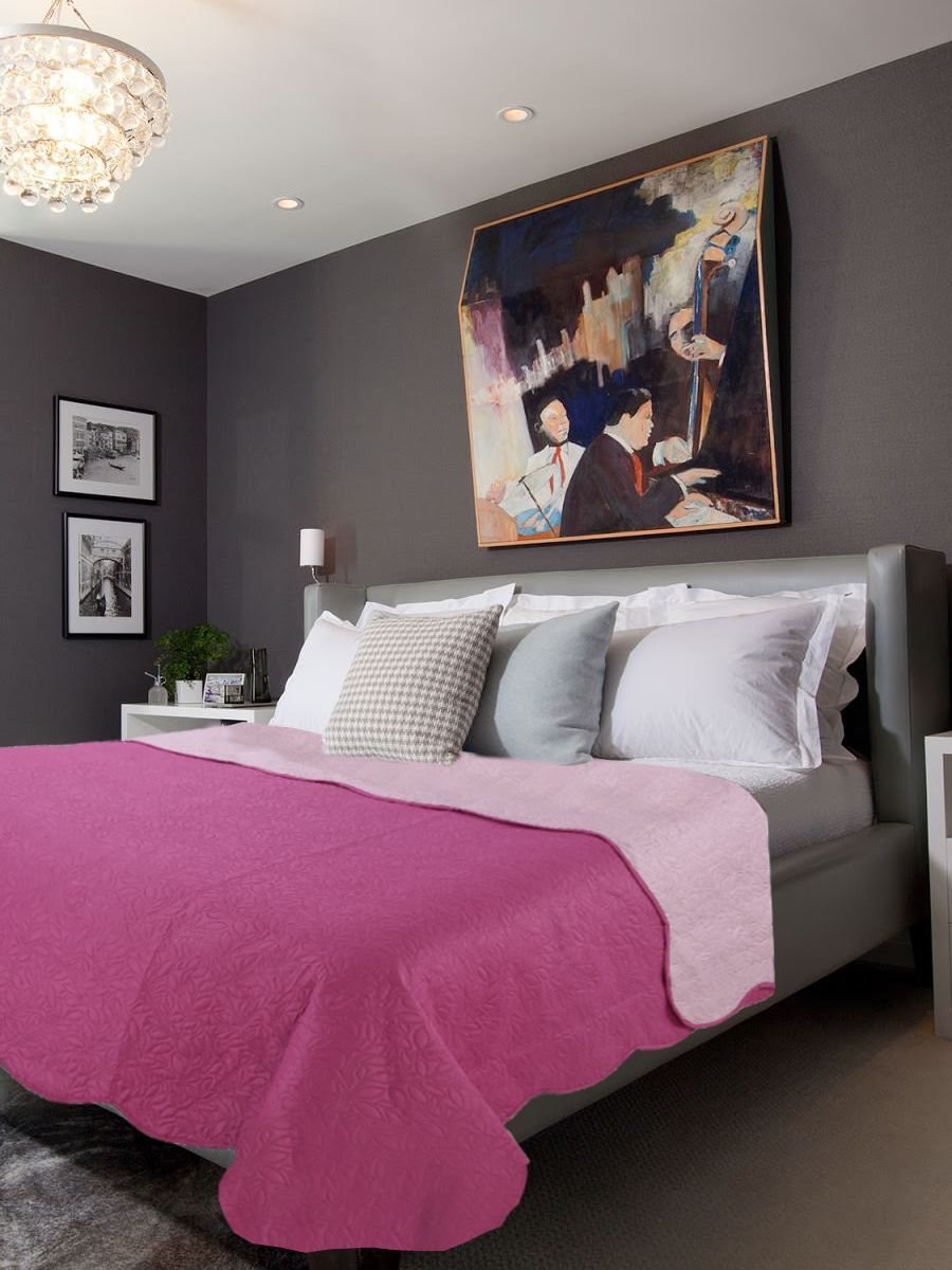 Покрывало Amore Mio Термостежка однотонная Quartz Микрофибра 1,5 спальный Фуксия/розовый