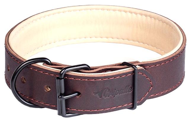 Ошейник для собак Gripalle Гросс, кожаный, черная фурнитура, коричневый, 30мм х 40см