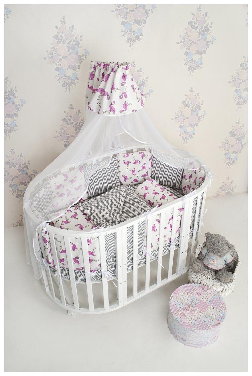 Комплект в кроватку AmaroBaby Фламинго 18 предметов (6+12 бортиков) малиновый/серый
