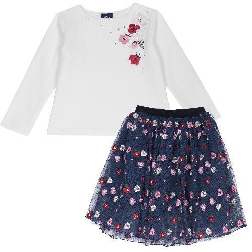 Комплект (футболка+юбка) Chicco для девочек размер 128 цв.синий