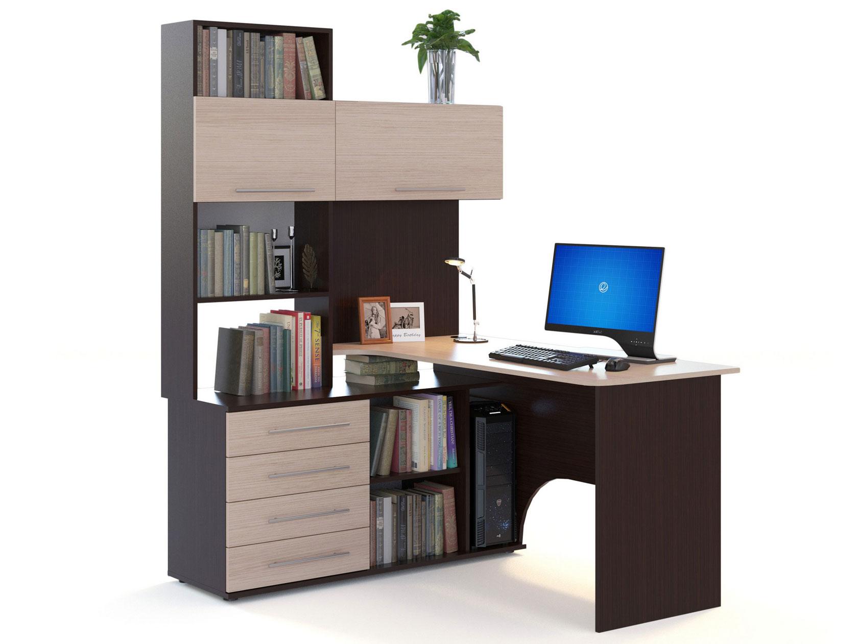 Компьютерный стол СОКОЛ КСТ-14 140x123,5x182,8, венге/беленый дуб
