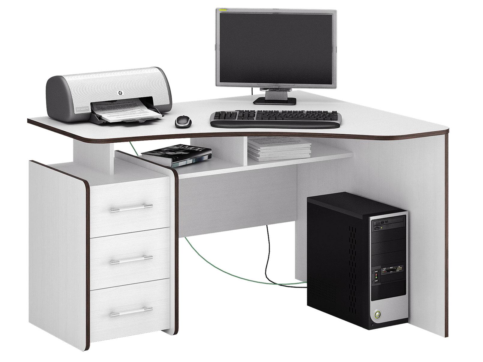 Компьютерный стол МФ Мастер Триан-5 120x90x75, белый