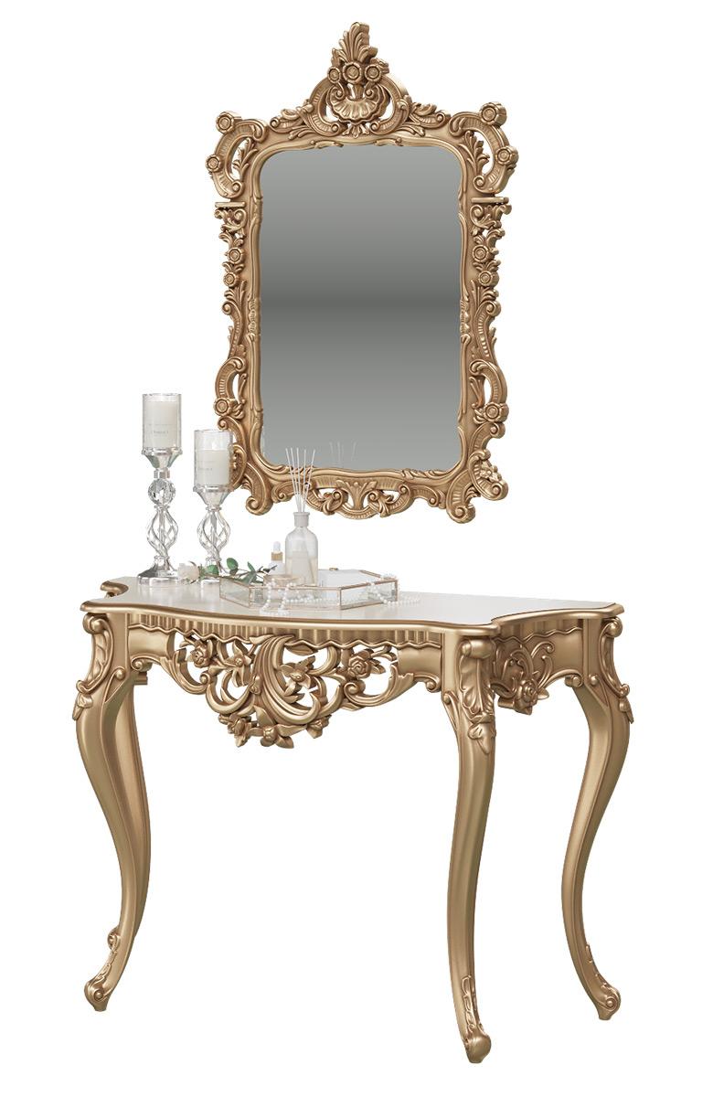Туалетный столик с зеркалом Мэри-Мебель КН-01+ЗК-01, цвет золото, 122х48х82 + 70х8х106 см. фото