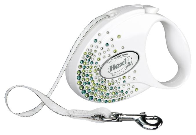 Рулетка для собак Flexi Glam Splash Leaf S белая 28162F