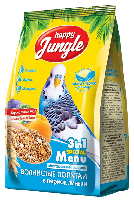 Основной корм Happy Jungle для волнистых попугаев