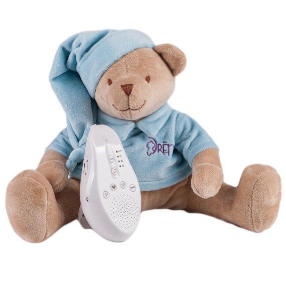 Купить Игрушка-комфортер Мишка DrЁma BabyDou для сна, с белым и розовым шумом, голубой 102, Drёma babydou, Комфортеры для новорожденных