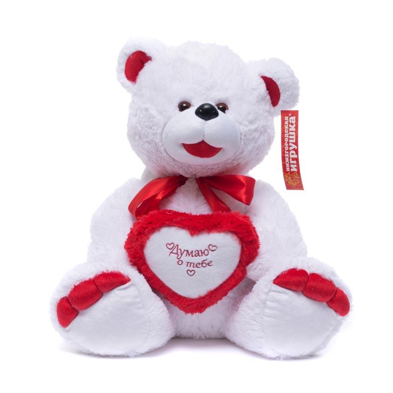 Купить Мягкая игрушка Нижегородская игрушка Медведь праздничный с сердцем (средний) 55 см, Мягкие игрушки животные