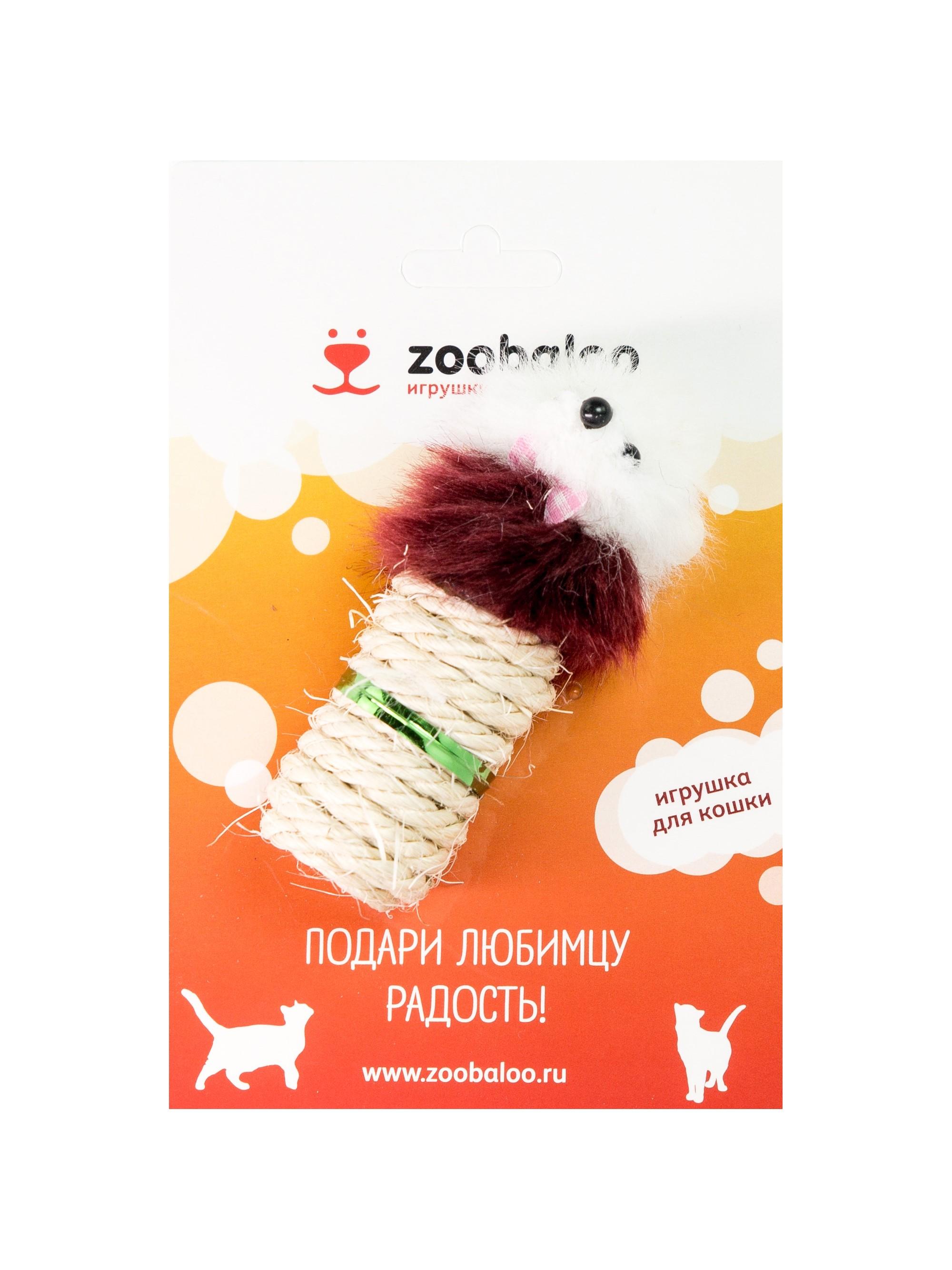 Когтеточка для кошек сизалевая Zoobaloo цилиндр Мышка,